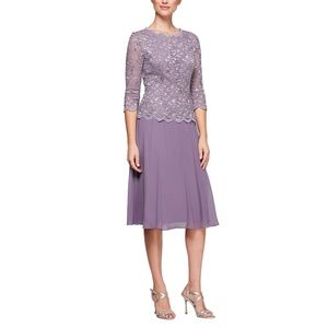 Alex Evenings Sequined Lace A-Line Icy Orchid